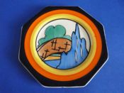 Superb Clarice Cliff Bizarre 'Orange Roof Cottage' Octagonal Plate c1932